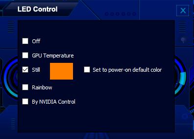 В настройках LED-подсветки Palit GeForce GTX 1080 Ti GameRock можно выбрать 16,8 млн. цветов.