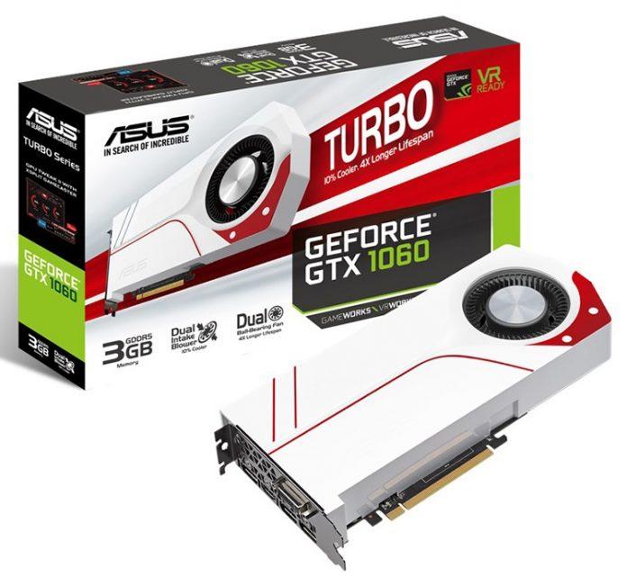 ASUS представила видеокарту Turbo GeForce GTX 1060 3GB