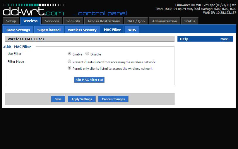 Фильтрация MAC-адресов позволяет предоставить доступ в Сеть только доверенной технике.