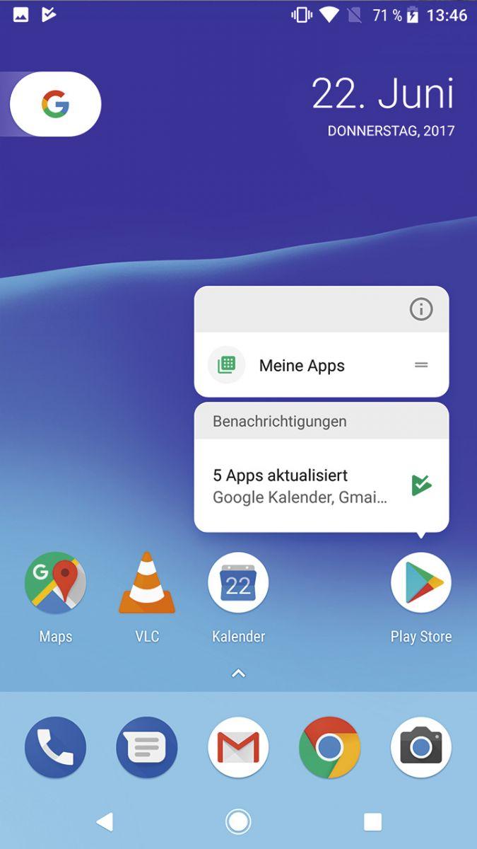 Android 8.0: Если нажать на ярлык и удерживать его, откроется контекстное меню.