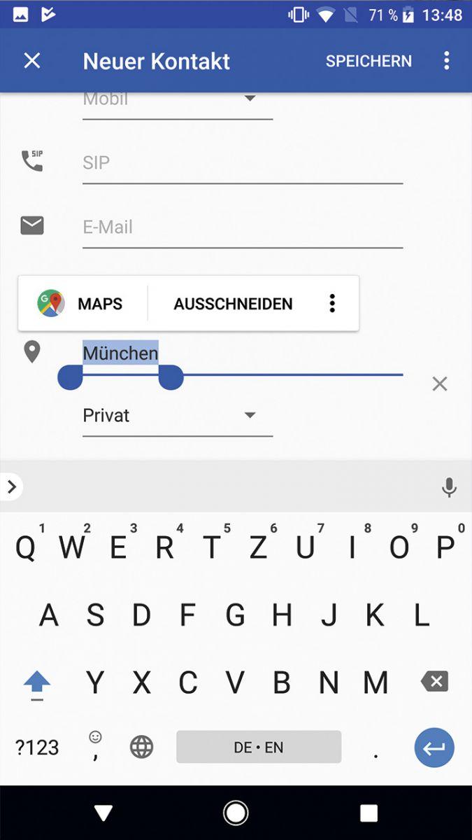 Android 8.0: Выделенные адреса можно напрямую добавлять в карты.