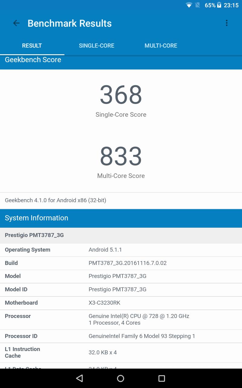 Geekbench 4: Prestigio MultiPad Wize 3787 3G