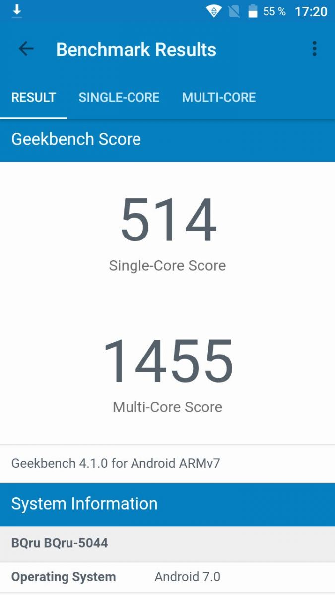 Geekbench 4: BQ-5044 Strike LTE