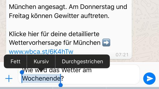 Изменение стиля текста в WhatsApp наглядно на любом языке