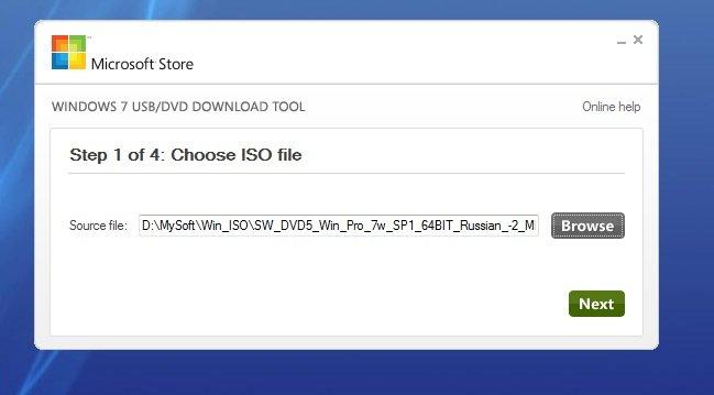 Microsoft Windows 7 USB/DVD Download Tool записывает образ Windows на установочный USB-накопитель