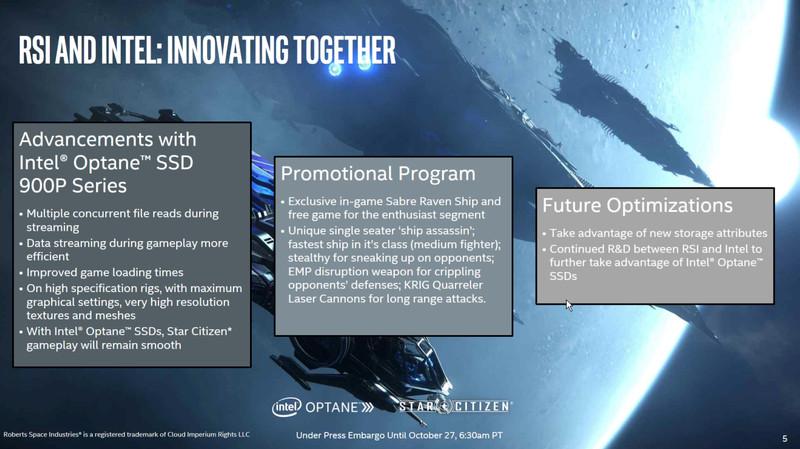 Покупатели SSD Intel Optane получат в подарок истребитель Sabre Raven для игры StarCitizen
