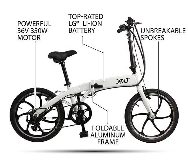 Складной электровелосипед Jolt eBike может проехать на одном заряде до 80 км