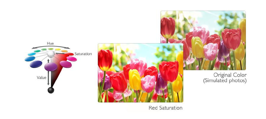 Проектор W2000 позволяет производить независимую настройку шести основных цветов (R/G/B/C/M/Y).