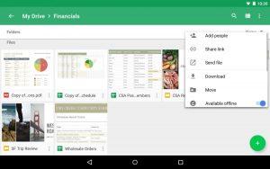 Интерфейс приложения Google Drive