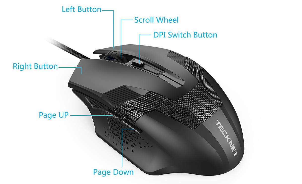Tecknet Professional Ergonomic Optical Wired Computer Gaming Mouse