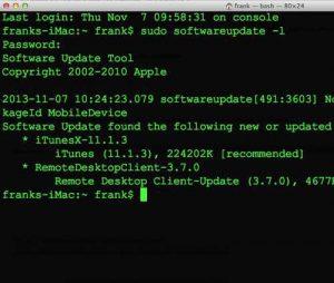 Обновление Mac OS X с помощью Terminal