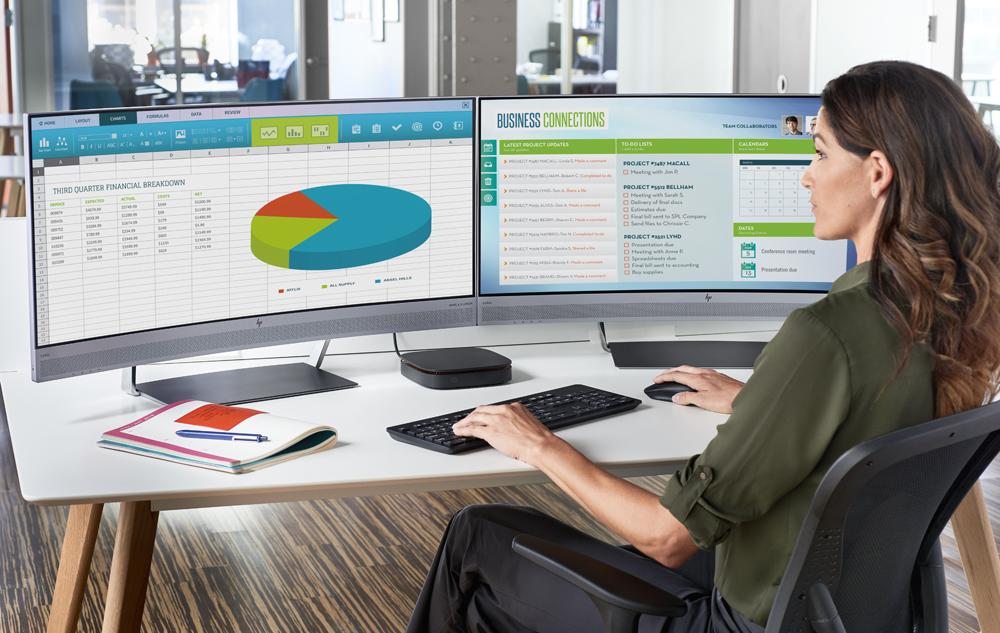 Изогнутые мониторы HP для офисного использования