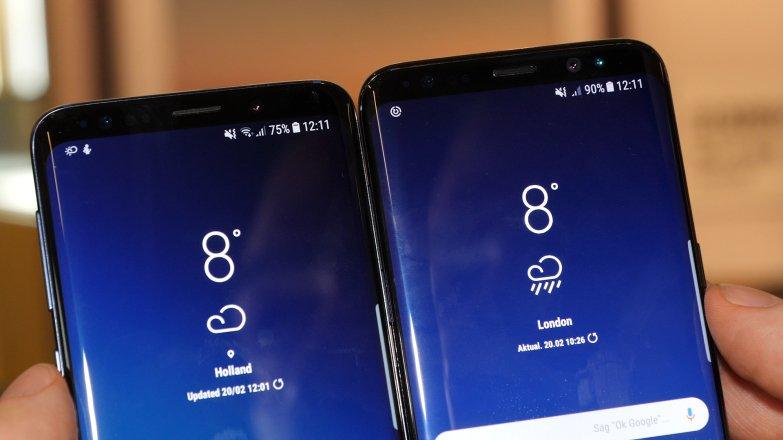 Тонкая разница: сканер радужной оболочки глаза у Galaxy S8 (справа) сверкает синеватым цветом