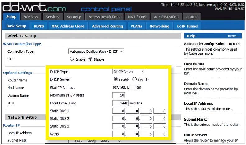 После установки DD-WRT измените DNS-сервер устройства прежде чем настраивать подключение по VPN