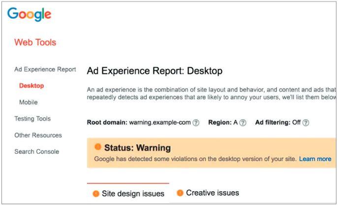 В Ad Experience Report владелец сайта может узнать причину блокирования браузером Chrome объявлений