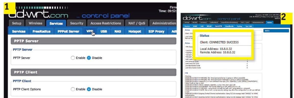 Запустите OpenVPN Client (1) в DD-WRT. После ввода данных доступа в меню «Status» можно проверить, построен ли туннель для защиты данных (2)