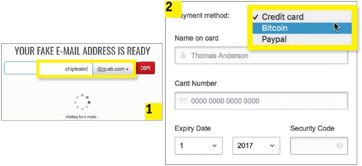Для регистрации в сервисах VPN вам понадобится одноразовый электронный ящик, например, на fakemailgenerator.com (1). Оплату, в том числе ProtonVPN (2), принимают и в биткоинах