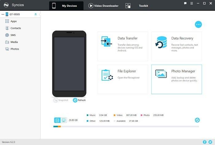 Syncios для Android имеет меньше функций, чем для iOS, но контакты переносить умеет