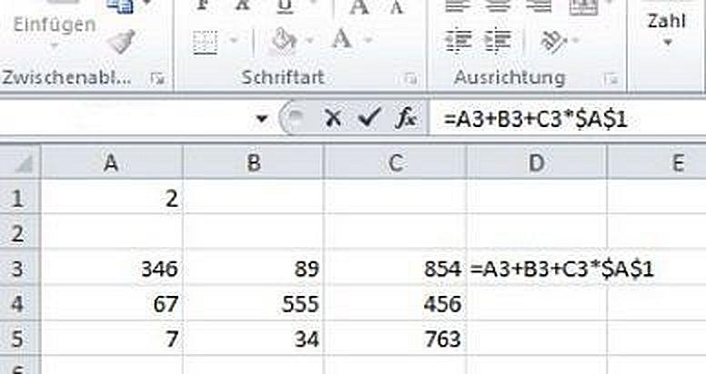Ячейка Excel с абсолютной ссылкой