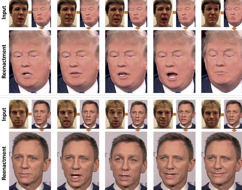 В 2016 году научно-исследовательская группа из Германии продемонстрировала, как в реальном времени можно перенести мимику одного человека на лицо другого