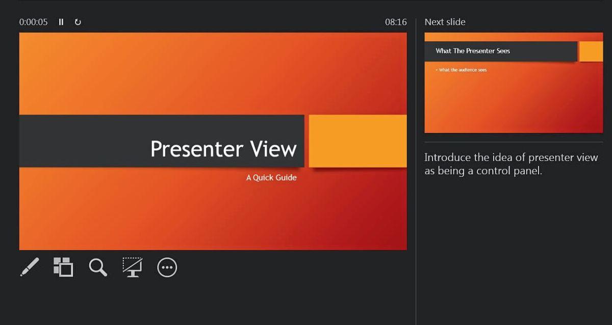 Режим докладчика в PowerPoint обеспечивает удобный обзор для спикера и множество дополнительных функций