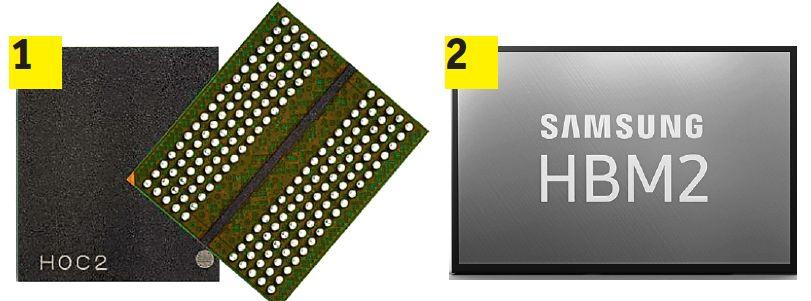 Производятся новые типы памяти для видеокарт: GDDR6 (1) в самых распространенных видеокартах работает вдвое быстрее, чем GDDR5. Для карт самого высокого класса больше подходит память HBM2 (2)