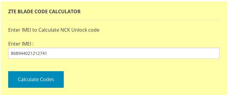 zte blade калькулятор кодов