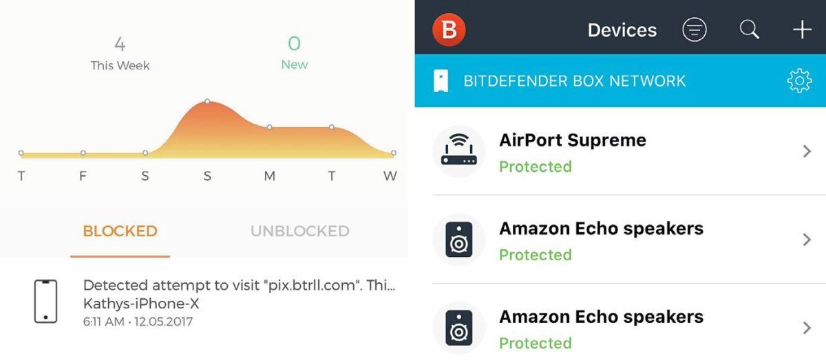 В просмотре событий можно увидеть все заблокированные угрозы. Приложение отображает список подключенных устройств и состояние их безопасности.
