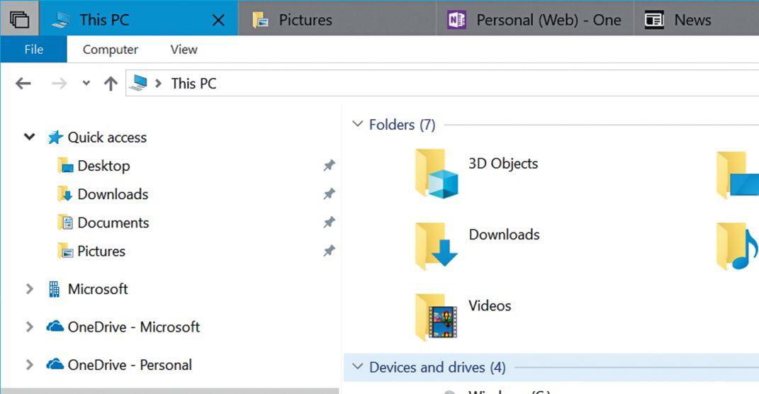 Такие UWP-приложения, как Проводник Windows, в Redstone 5 можно объединять с другими программами, например OneNote, в одну вкладку