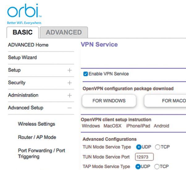 Прошивка Orbi основывается на полноценном программном обеспечении для роутера Netgear и предоставляет такие продвинутые функции как внешний доступ по VPN к домашней сети