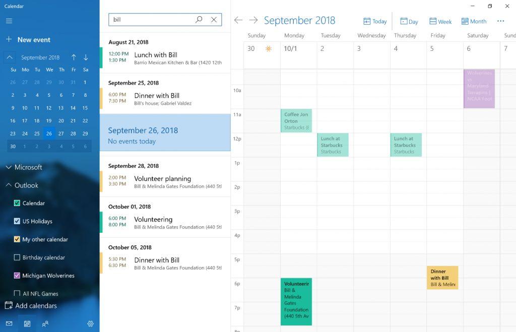 Встроенный календарь получил мощную функцию поиска