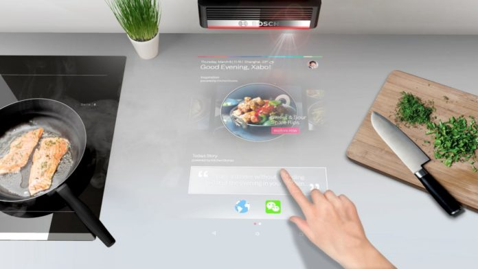 Bosch представил проектор для кухни, который превращает столешницу в сенсорный экран