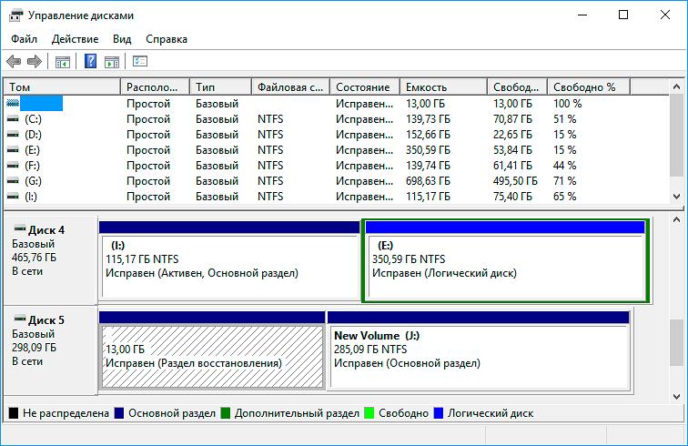 Как объединить разделы жесткого диска windows 10