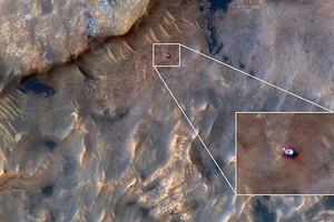 Марсоход Curiosity сфотографировали с орбиты Красной планеты