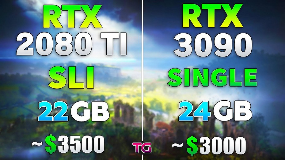 Что лучше, две GeForce RTX 2080 Ti в SLI или одна GeForce RTX 3090  сравнение в современных играх