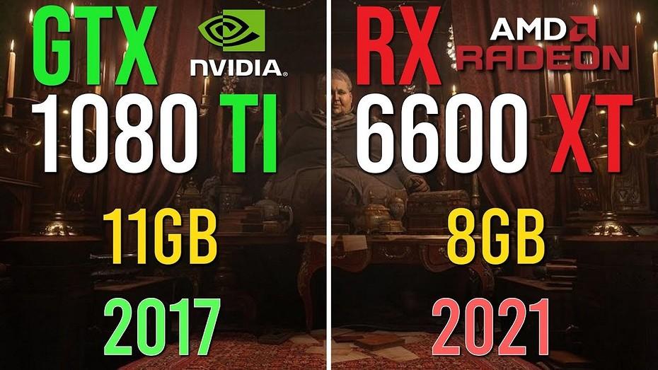Кто кого, флагманская карта 2017 года или бюджетная 2021 года  GeForce GTX 1080 Ti против Radeon RX 6600 XT